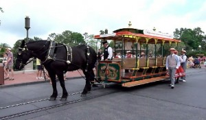 Horse drawn streetcar in Magic Kingdom