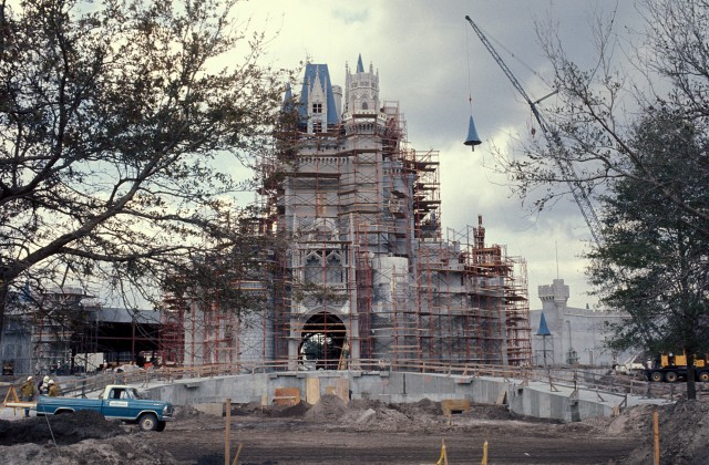 Magic Kingdom castle construction 1971