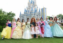 Disney Princesses in front of Cinderella's Castle 2013