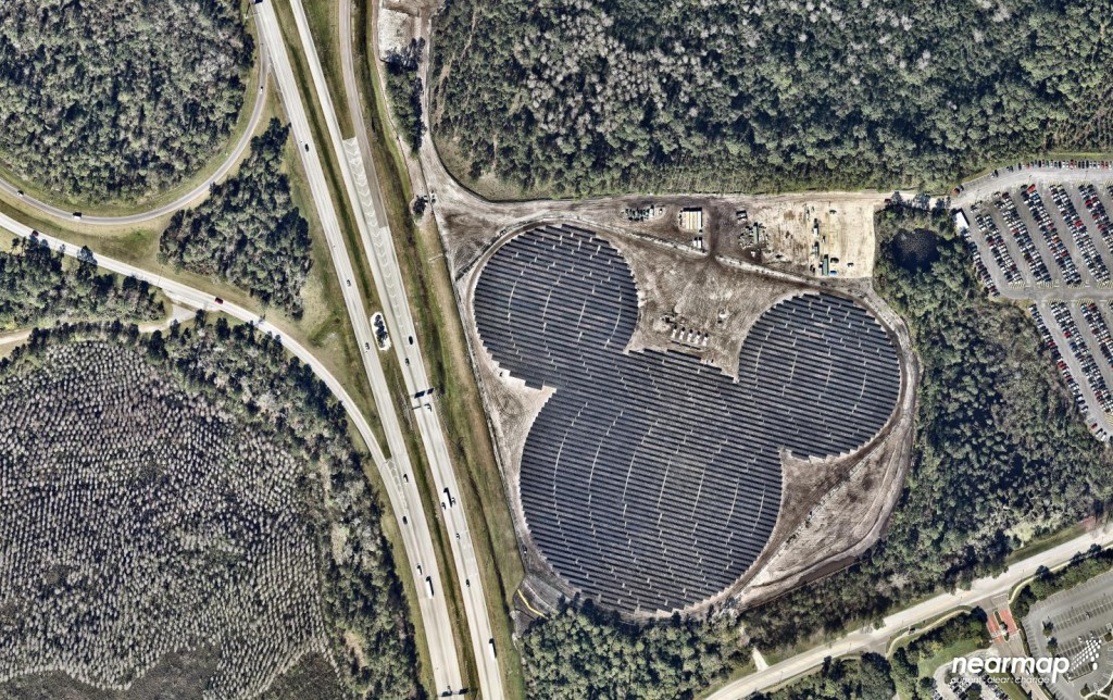 Hidden Mickey in Solar Panels Outside Epcot, <a href=