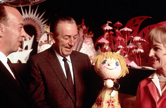 Walt Disney with creative team of It's a Small World Marc Davis and Mary Blair 1964