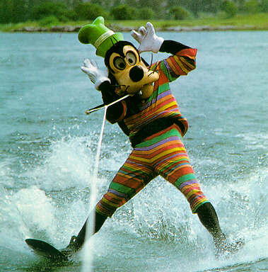 Water skiing Disney characters Goofy at Walt Disney World