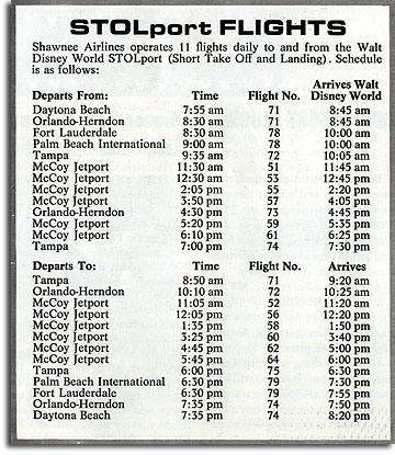 Walt Disney World STOLport Schedule 1970's