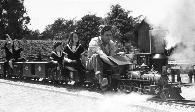 Walt Disney Riding His Backyard Train 1950