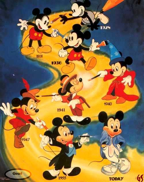 Mickey Mouse thru the years